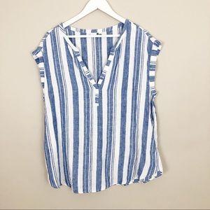 Gap Sleeveless Linen V-Neck Tunic  Size Large